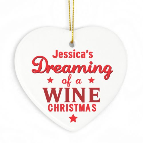 Personalised Dreaming of a Wine Christmas Ceramic Heart